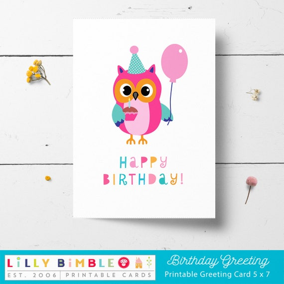 Owl birthday card printable instant download print owl birthday card printable instant download print yourself diy greeting card bookmarktalkfo Image collections