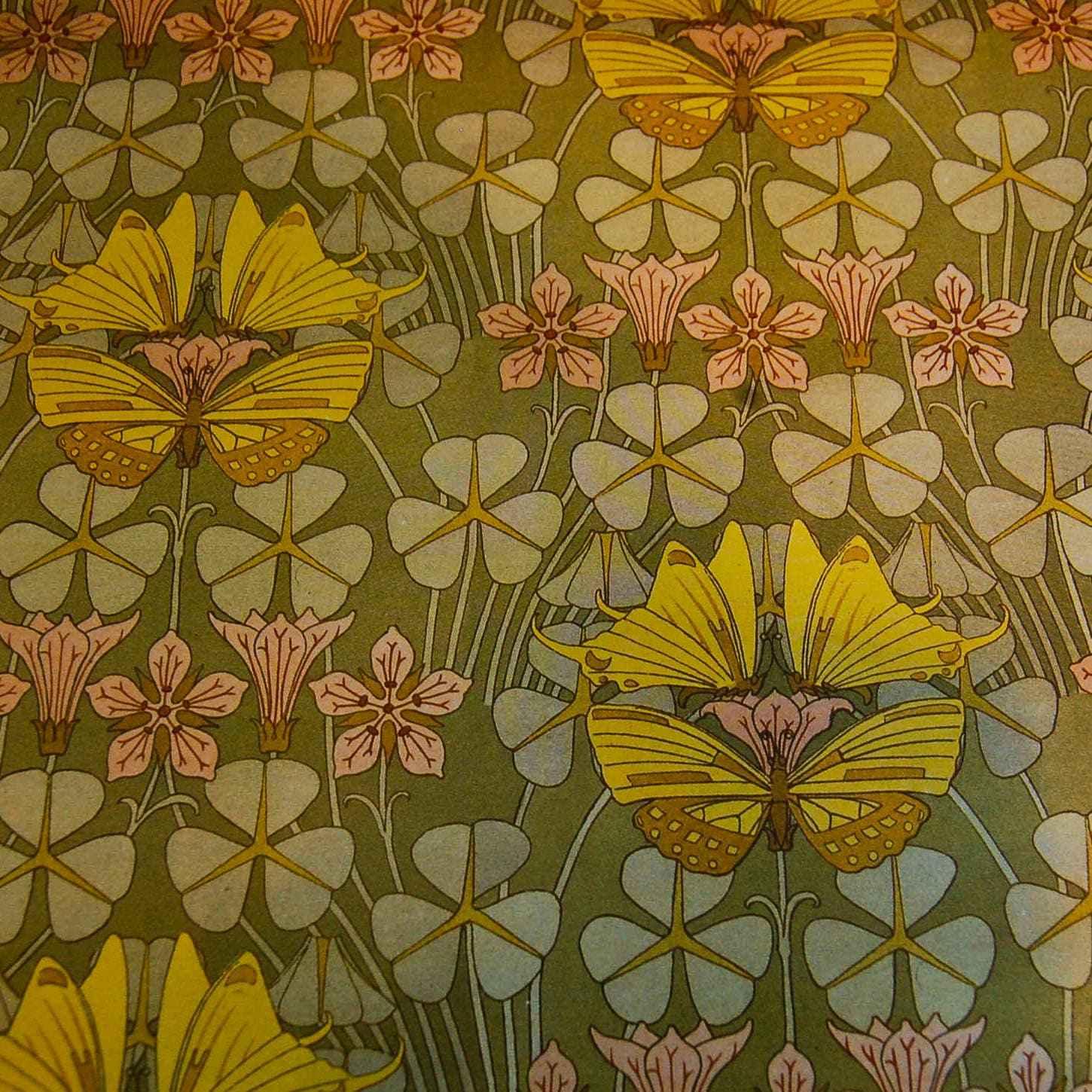 Decorative Paper, Art Nouveau Golden Butterflies on Clover Leaves ...