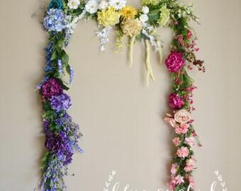 Wedding Garland, Flower Garland, Wedding Flowers, Multicolor Garland, Colorful Garland, Silk Garland, Silk Flower Garland, Boho Wedding