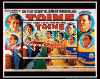 TOINE (1932) Rene Gaveau Very Rare 6x8 ft Fold Giant Billboard Movie Poster Original Vintage Collectible