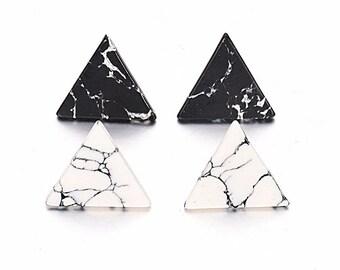 Triangle Earrings - Black or White Stud Earrings