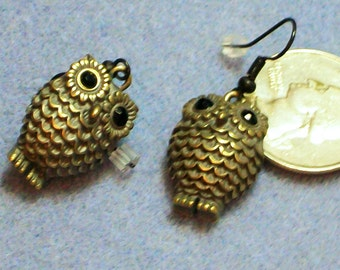 Brass Owl Earrings (842)