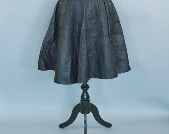 Vintage 90's Coralie Black Retro Lined Leather Flared A-Line Skirt Small UK 8