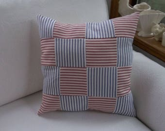 Quilted Ticking Pillow Handmade Patchwork Pillow Nautical Pillow Beach Cottage Decor Red White Blue Ticking Decorative Pillow