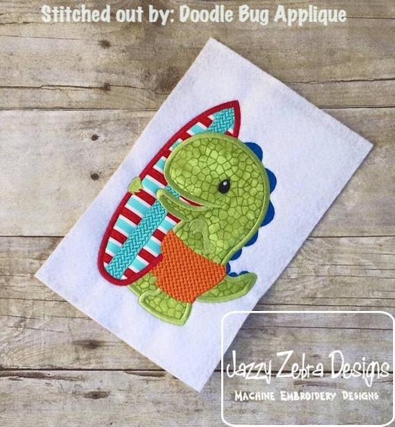 Dinosaur with Surf Board Appliqué embroidery Design - Dinosaur applique design - dino appliqué design - surfing appliqué design