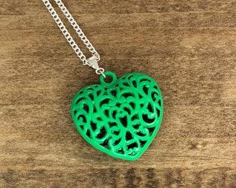 Heart Pendant, Heart Necklace, Green, Puffy Heart Necklace, Filigree Heart Necklace, Delicate, Handpainted, Handmade Necklace, Pilboxx