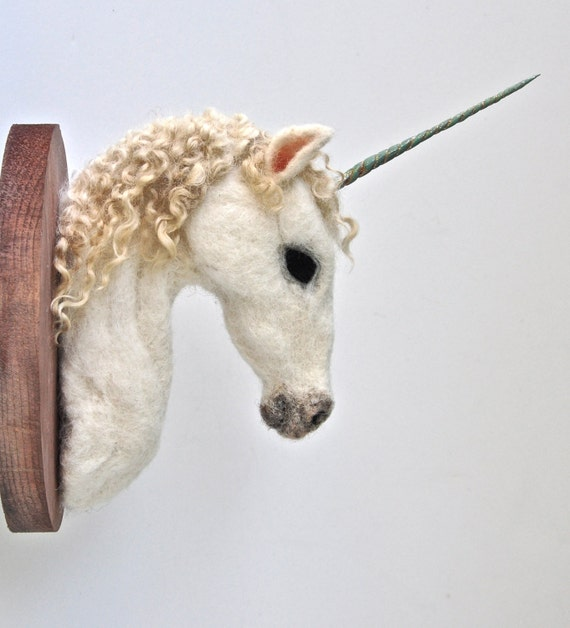 Relatively Unicorn Felted Faux Taxidermy Wall Mount ZV46