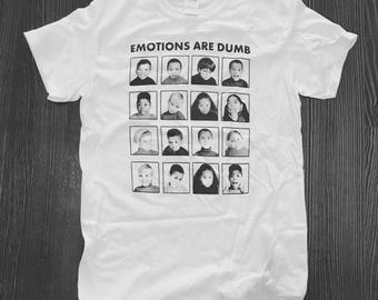 Emotions Are Dumb T-Shirt Hand Printed Silkscreen Black Ink White Cotton Children's Emotional Chart