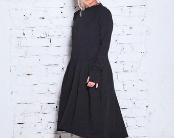 Black Sweater Dress/ Black Goth Dress/ Winter Dress/ Long Sleeve Dress/ Office Dress/ Black Minimalist Dress/ Plus Dress/ Classic Dress/