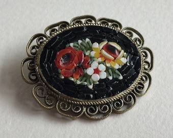 Beautiful Vintage Italian Micro Mosaic floral Brooch pin - extraordinary costume jewelry - gifts for her - Made in Italy