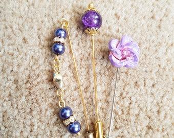 "3 pcs Hijab Pin Set ""Purple"""