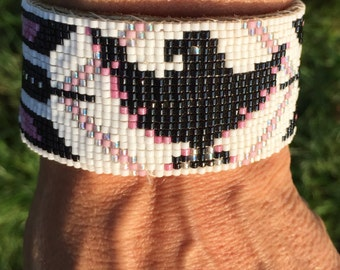 Raven Totem, Native American, Glass, Pink and Black, Leather, Loom Beaded Bracelet - Men's or Women's