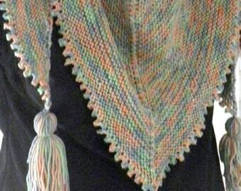 Winter shawl knit multicolored tassel