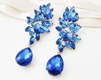 Blue Earrings, Large Blue Earrings, Blue Earrings for Wedding, Blue Wedding Jewellery, Blue Bridal Jewelry, Big Blue Crystal Earrings