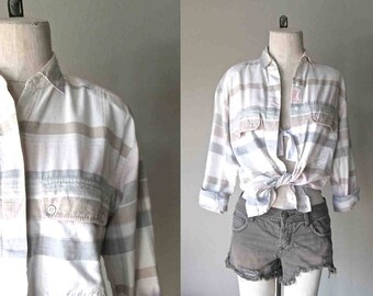 Vintage 90's hipster shirt PALE STRIPES soft cotton button-up - S/M