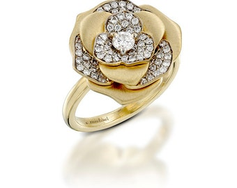 Flower Engagement Ring, Floral Ring, Flower Diamond Ring, Yellow Gold Ring, Unique rings for her, Unique Flower rings, Unique Diamond rings