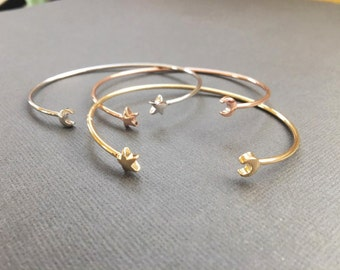 star and moon adjustable bangle, adjustable bracelet, star and moon jewelry,