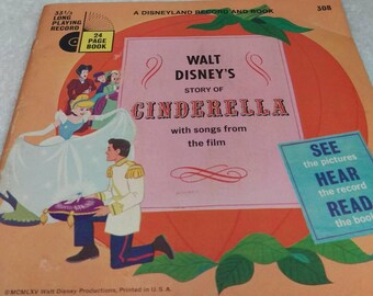 Cinderella   Record and Read along book vintage