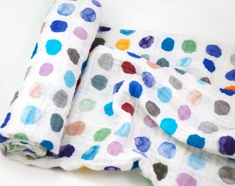"""Muslin Swaddle Blanket in Blue Watercolor Dots - made from 100% cotton double gauze - 45"""" square"""