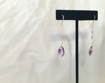 Moss Amethyst and Pearl Earring