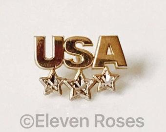 10k Gold USA Tack Pin Tie Tac Diamond Cut Design Free US Shipping