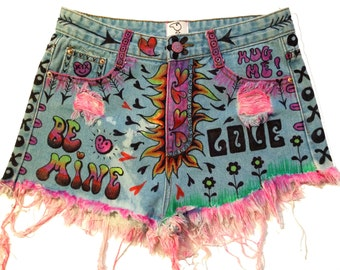 SALE! LUV BUG denim shorts; recycled. hand painted, high-waisted, bedazzled. wearable art. exclusively by artfink.