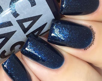THE PACK SURVIVES by Canvas lacquer,  a deep sapphire with silvery micro shimmer