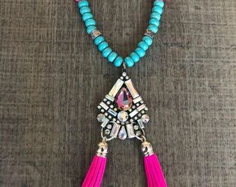 Crystal suede tassel necklace ~ Boho tassel necklace