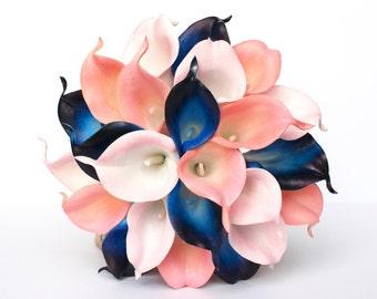 Navy Blue Wedding Bouquet - Coral Calla Lily Wedding Bouquet , Coral, Blush pink and Navy Real to touch calla Lily , Coral Bridal Bouquet
