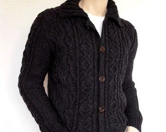 Men Sweater Hand Knit Cable Cardigan Merino wool Aran Knit Jacket