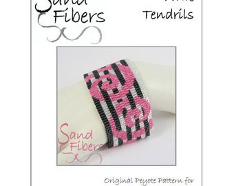 Peyote Pattern - Pink Tendrils Peyote Cuff / Bracelet  - A Sand Fibers For Personal/Commercial Use PDF Pattern