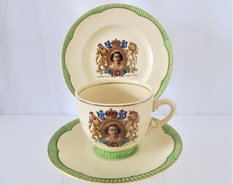 A Vintage Clarice Cliff Tea Time trio  of Queen Elizabeth's Coronation in 1953 - Historic Collectable in Mint Condition