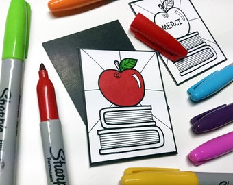 Magnet coloring - gift for teacher - child, coloring, Apple, books