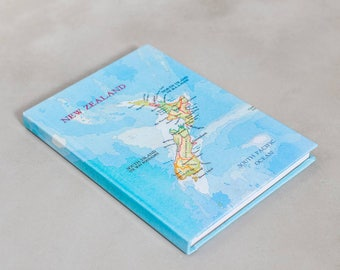 personalised New Zealand Map travel notebook - Custom notebook - A5 notebook  -  Map sketchbook - Travel journal - sketchbook -map gift