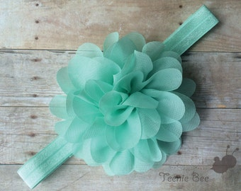Aqua Baby Headband - Aqua Flower Baby Headband - Flower Headband - Baby Headband