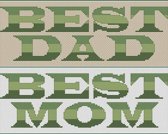 Best Mom & Best Dad Cross Stitch Pattern - Best Mom and Best Dad Cross Stitch Chart PDF Instant Download