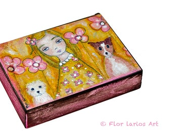 Girl with Dogs -  Giclee print mounted on Wood (5 x 7 inches) Folk Art  by FLOR LARIOS