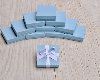 20 Powder Blue 3.5x3.5x1 Matte Gift Jewelry Boxes Square with Cotton Fill Gift Boxes Baby Blue