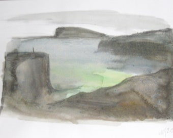 Hoyvik landscape original watercolor pic