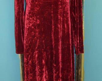 Vintage Red Crushed Velvet Long Dress by More-Jazz size Medium 1980's  1990's