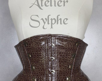 23 inches waist size Very steampunk underbust corset belt in brown/red PVC vinyl  and free skirt