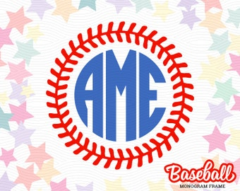 Baseball Stitch Monogram Frame (SVG, EPS, DXF Studio3) Cut Files for use with Silhouette Studio, Cricut Design Space, Cutting Machines