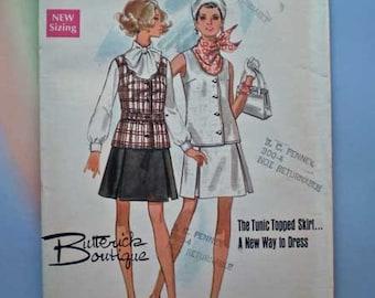 Vintage 60s Uncut Pattern Mod Tunic Top Skirt 31 1/2
