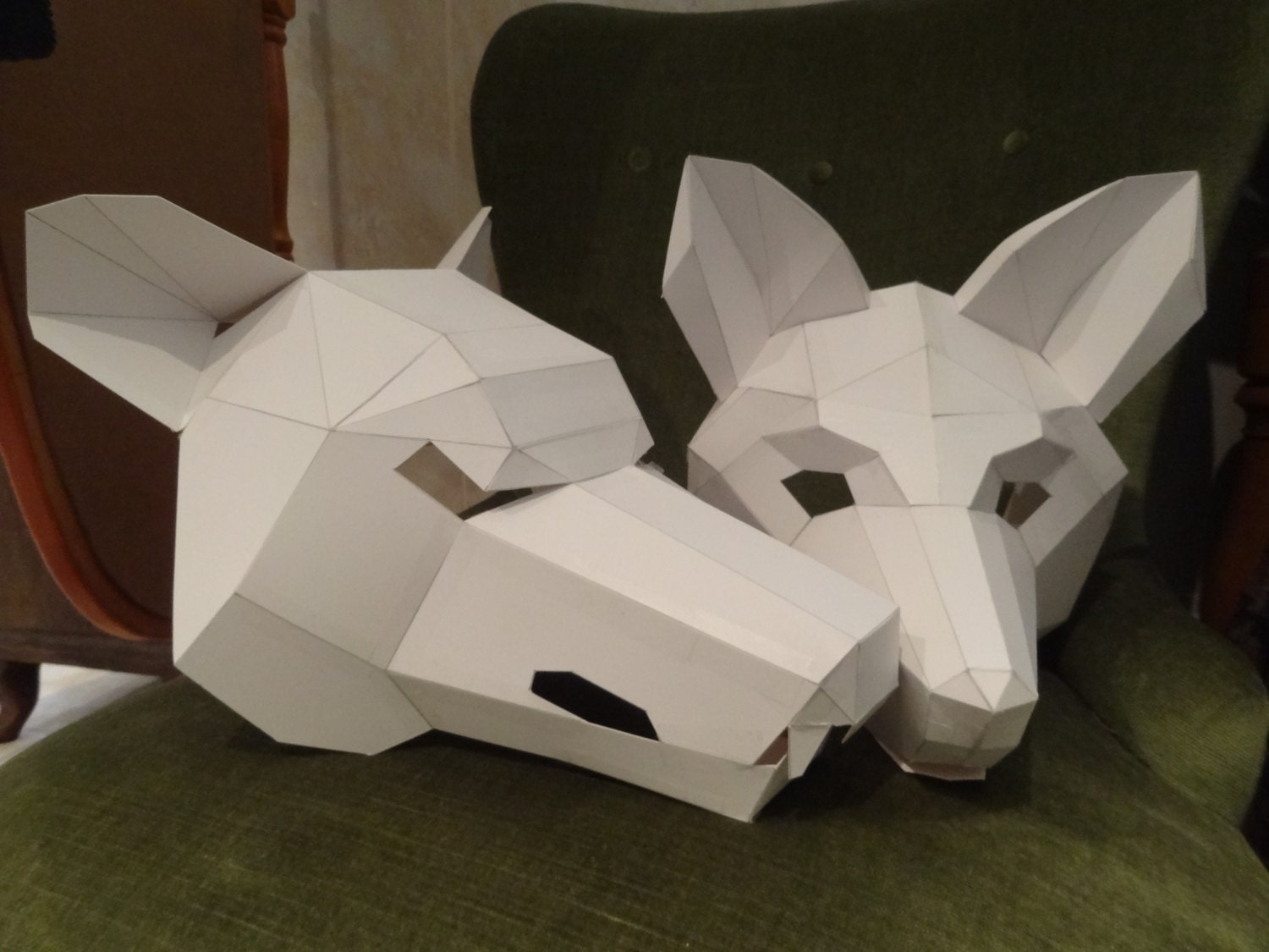 Make your own wolf mask fox mask instant download diy for Large cardboard cut out numbers