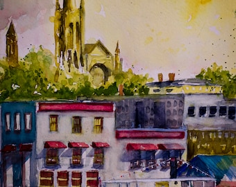 CITYSCAPE WATERCOLOR on CANVAS * Wilmington North Carolina City Art * Giclee on Canvas * Ships Free to UsA