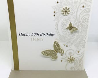 Personalised Handmade Birthday Card 16th,18th,21st,30th,40th,50th,60th Gold