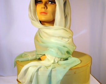 Iconic 50s extra long chiffon scarf in good wearable condition. 28 x70.