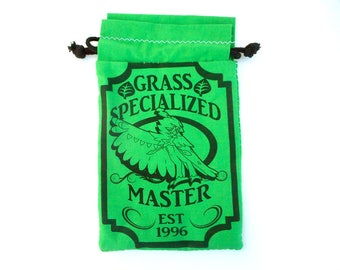 Pick One XL Pokemon Grass Specialized Master Drawstring bag for dice, Cell phones, Nintendo Ds XL, Dice, cards, or anything!