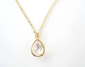 Crystal clear teardrop necklace Clear crystal pendant Clear glass bridesmaid necklace Gold teardrop necklace Crystal zircon jewelry set