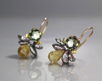 Citrine Earrings, Citrine Jewelry, Mother Daughter Gift for Mom, Bezel Set Bee Earrings, Swarovski Earrings, November Birthstone